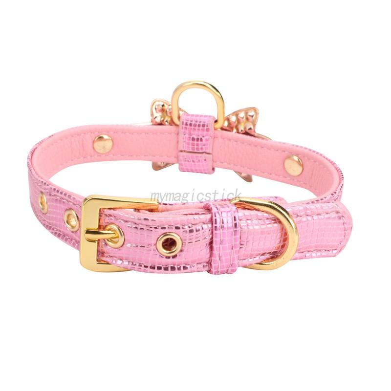 Small-Pet-Dog-PU-Leather-Collar-Puppy-Cat-Buckle-Neck-Crystal-Bowknot-Strap-Cute thumbnail 8